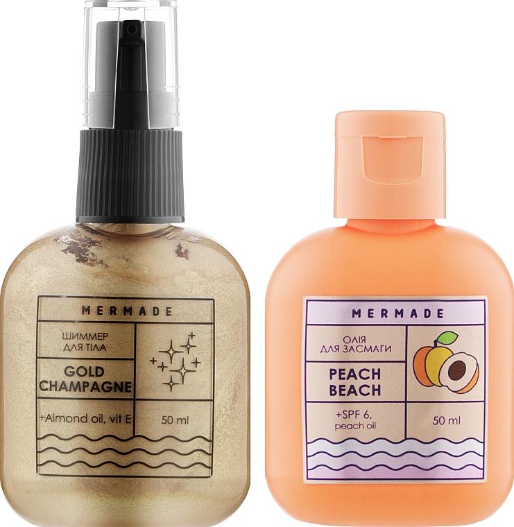 Набор для золотого загара - Mermade Peach Beach (b/oil/50ml + shimmer spr/50ml)