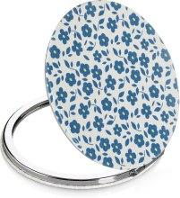 Духи, Парфюмерия, косметика Зеркало косметическое круглое маленькое, белое в синие цветы - Lily Cosmetics