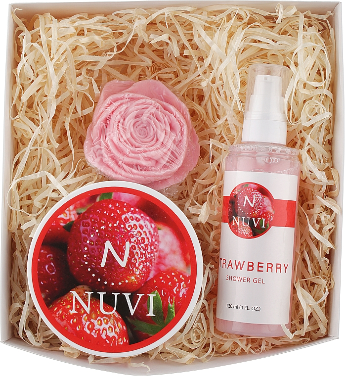 "Подарочный набор для тела ""Клубника"" - Nuvi (soap/75g + b/scrub/200g + show/gel/120ml)"