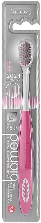 Зубная щетка средней жесткости, розовая - Biomed Silver Medium