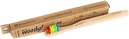 "Парфумерія, косметика Дитяча бамбукова зубна щітка ""Colour"", різнокольорова щетина - WoodyBamboo Bamboo Toothbrush Kids Soft/Medium"