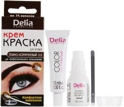Духи, Парфюмерия, косметика Крем-краска для бровей и ресниц, темно-коричневая - Delia Brow Dye Dark Brown 3.0