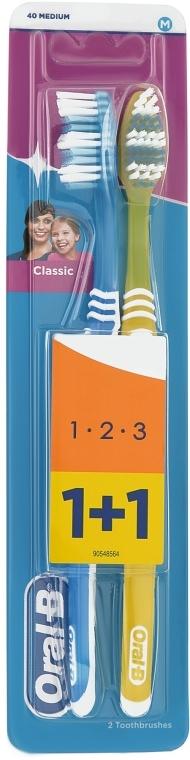 Набір зубних щіток 40 середньої жорсткості, синя + жовта - Oral-B 1 2 3 Classic — фото N1