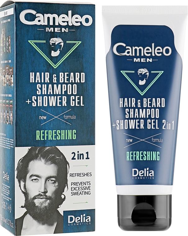Шампунь для волос и бороды+гель для душа 2 в 1 - Delia Cameleo Men Refreshing Hair Shampoo and Shower Gel