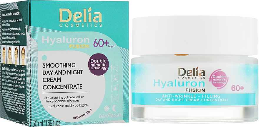 Крем концентрат заполняющий морщины 60+ - Delia Hyaluron Fusion Anti-Wrinkle-Filling Day and Night Cream Concentrate 60+