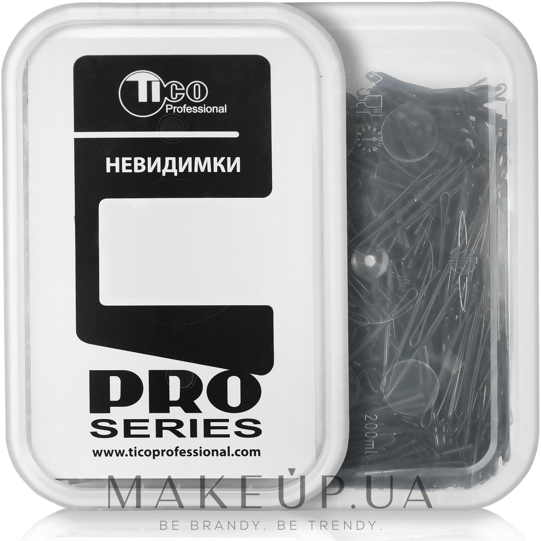 Невидимки для волос ровные, 40мм, черные - Tico Professional — фото 200g