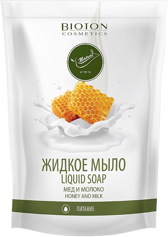 """Жидкое мыло """"Мед и молоко"""" - Bioton Cosmetics Nature Liquid Soap (сменный блок)"""