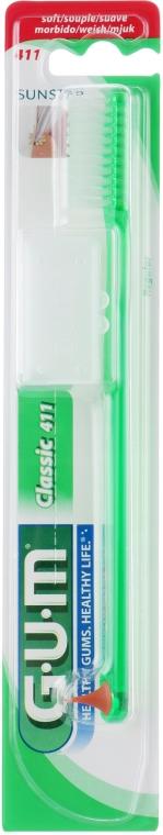 """Зубна щітка """"Classic 411"""", м'яка, зелена - G.U.M Soft Regular Toothbrush — фото N1"""