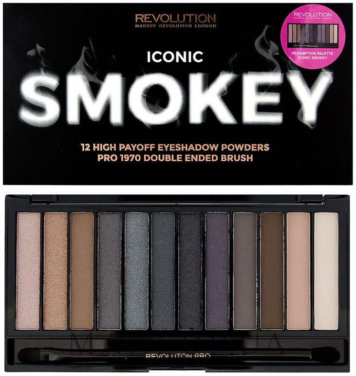 Палетка из 12 теней - Makeup Revolution Iconic Smokey Palette — фото Iconic Smokey