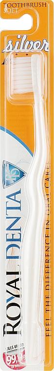 Мягкая зубная щетка с наночастицами серебра для детей и тех, кто носит зубные скобы, белая - Royal Denta Silver Mini Toothbrush