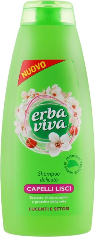Шампунь для прямых волос с экстрактом боярышника и протеинами шелка - Erba Viva Hair Shampoo