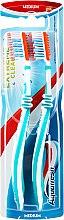"Духи, Парфюмерия, косметика Набор зубных щеток, средней жесткости ""1+1"", зеленая+зеленая - Aquafresh Lizarb X-silky"