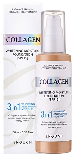 Тональный крем 3в1 с коллагеном - Enough 3in1 Collagen Whitening Moisture Foundation SPF 15