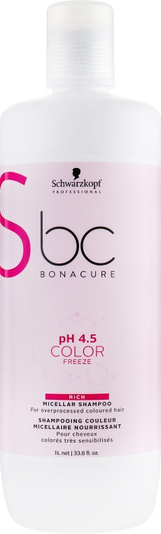 Мицеллярный шампунь - Schwarzkopf Professional BC Bonacure Ph 4.5 Color Freeze Rich Micellar Shampoo