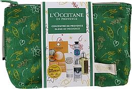 Духи, Парфюмерия, косметика Набор - L'Occitane Christmas Set (balm/15ml + f/mask/6ml + b/milk/20ml + h/cr/10ml + shm/35ml + sh/gel/30ml + bag)