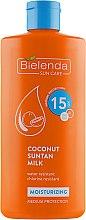 Духи, Парфюмерия, косметика Кокосовое молочко для загара SPF15 - Bielenda Bikini Moisturizing Suntan Milk Medium Protection