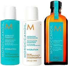 Духи, Парфюмерия, косметика Набор - MoroccanOil Holiday Mini Kit Hydration Set (shm/70ml + cond/70ml + hair/oil/100ml)