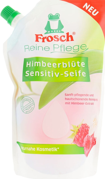 "Жидко мыло ""Малина"" - Frosch Raspberry Blossom Sensitive Soap (дой-пак)"
