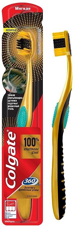 """Многофункциональная зубная щетка """"Золотая с древесным углем"""", мягкая, зеленая - Colgate 360 Charcoal Gold Soft Toothbrush"""