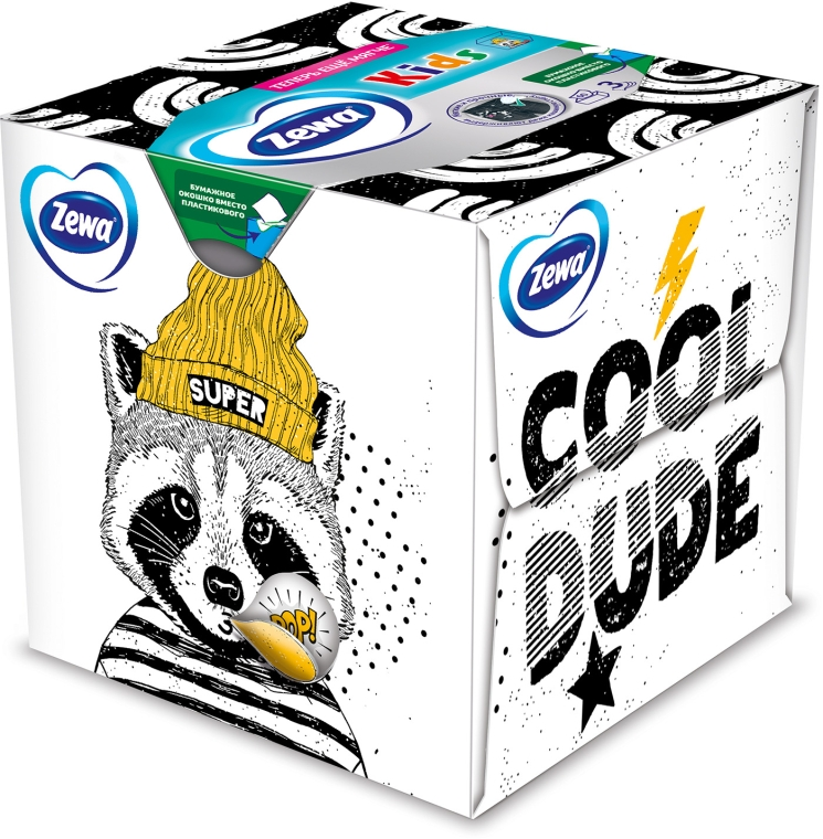 """Салфетки косметические трехслойные """"Kids"""", панда, 60шт - Zewa Kids 3D Box — фото N1"""