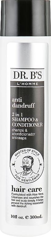 Мужской шампунь-кондиционер от перхоти 2в1 - Dr. B's L'Homme Hair Care Anti-Dandruff 2in1 Shampoo and Conditioner