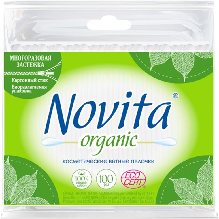 Палочки ватные в полиэтиленовом пакете, 100шт - Novita Organic