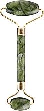 Парфумерія, косметика Нефритовий ролер для масажу обличчя, зелений - Lewer