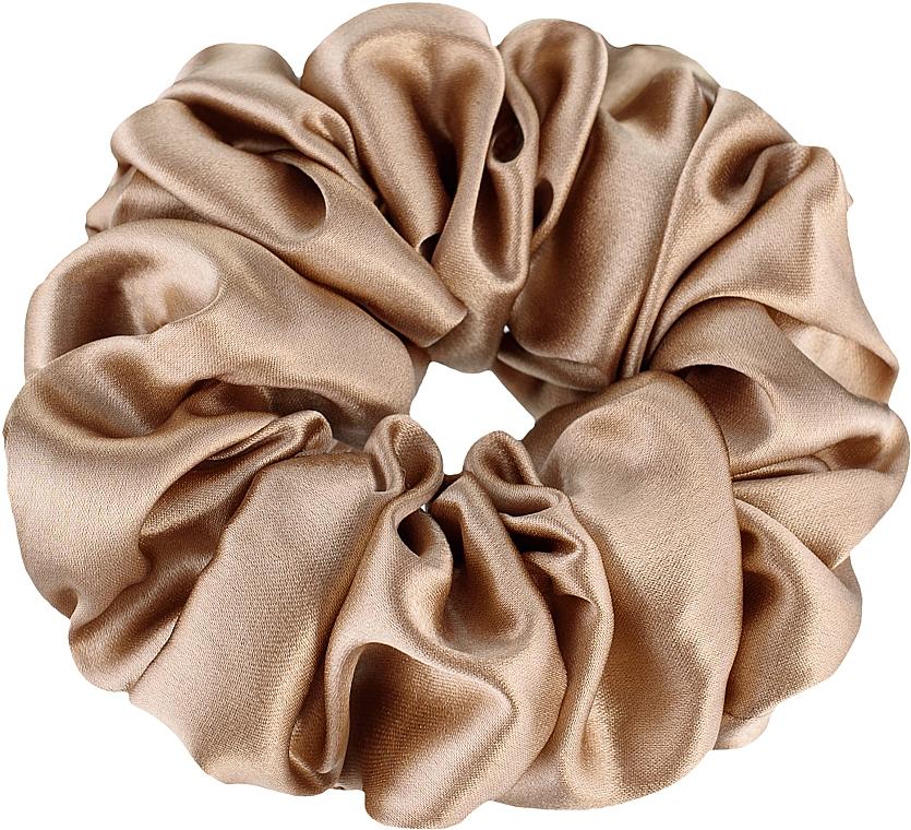 """Резинка для волос из натурального шелка, золотая """"Largy"""" - Makeup Largy Scrunchie Gold"""