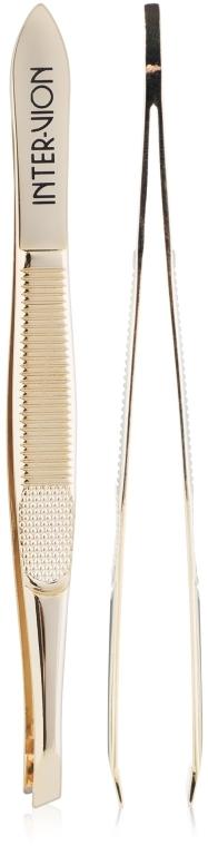 Пинцет для бровей скошеный, 499925, золотистый - Inter-Vion