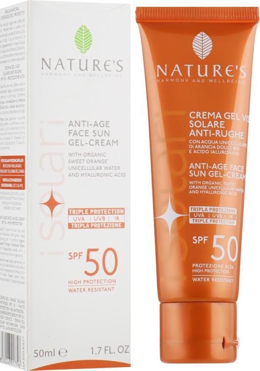 Защитный крем-гель для лица - Nature's I Solari Anti-Age Face Sun Gel Cream SPF-50