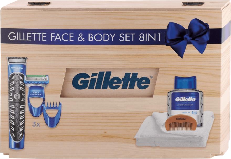 Набор - Gillette Face & Body Set 8in1 (styler/1pc + ash/lot/100ml + box + towel + crest)