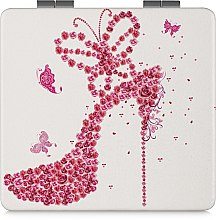 Духи, Парфюмерия, косметика Зеркало косметическое квадратное, белое с туфелькой - Lily Cosmetics