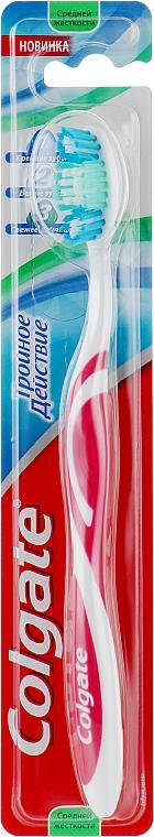 """Зубная щетка """"Тройное действие"""" средней жесткости, розовая - Colgate Triple Action Medium Toothbrush"""