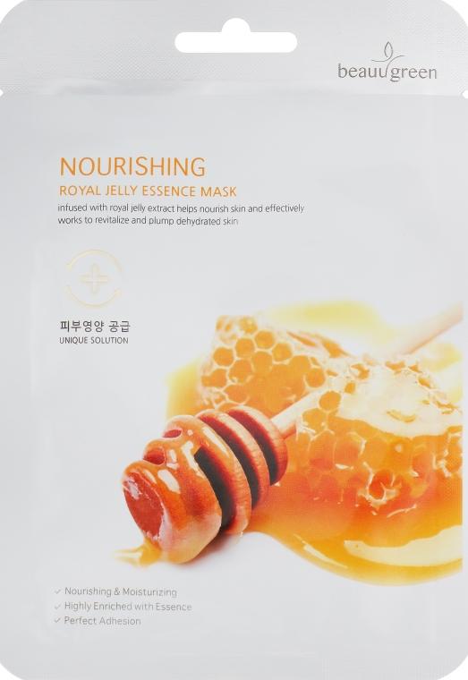 Питательная тканевая маска для лица с маточным молочком - BeauuGreen Nourishing Royal Jelly Essence Mask