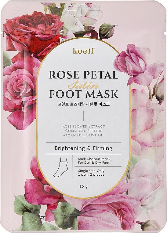 Укрепляющая маска-носочки для ног - Petitfee&Koelf Rose Petal Satin Foot Mask