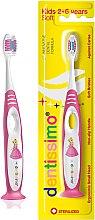 Духи, Парфюмерия, косметика Детская зубная щетка (от 2 до 6 лет), розовая - Dentissimo Kids