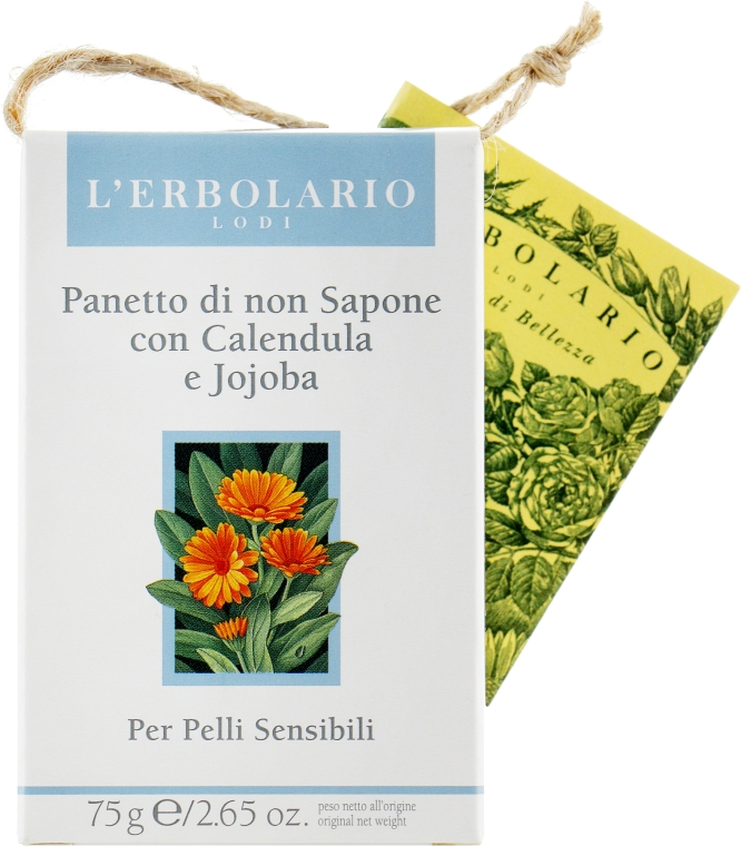 Мыло нещелочное с календулой и жожоба - L'Erbolario Panetto Di Non Sapone Alla Calendula E Allo Jojoba