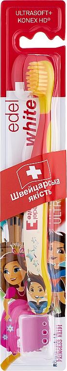 Детская мягкая зубная щётка с щетиной Konex, желто-красный - Edel+White Kids Soft Spezial