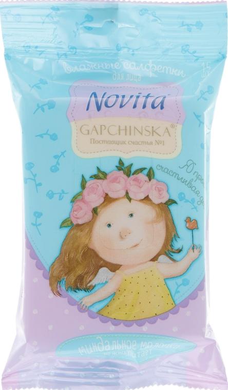 Влажные салфетки для снятия макияжа с миндальным молочком - Novita Gapchinska