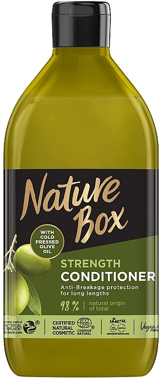 Бальзам для укрепления длинных волос и противодействия ломкости с оливковым маслом холодного отжима - Nature Box Strength Vegan Conditioner With Cold Pressed Olive Oil