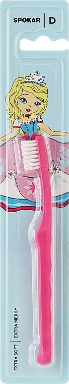 "Зубная щетка ""D"", детская от 0 до 6 лет, экстрамягкая, розово-белая - Spokar Dot"