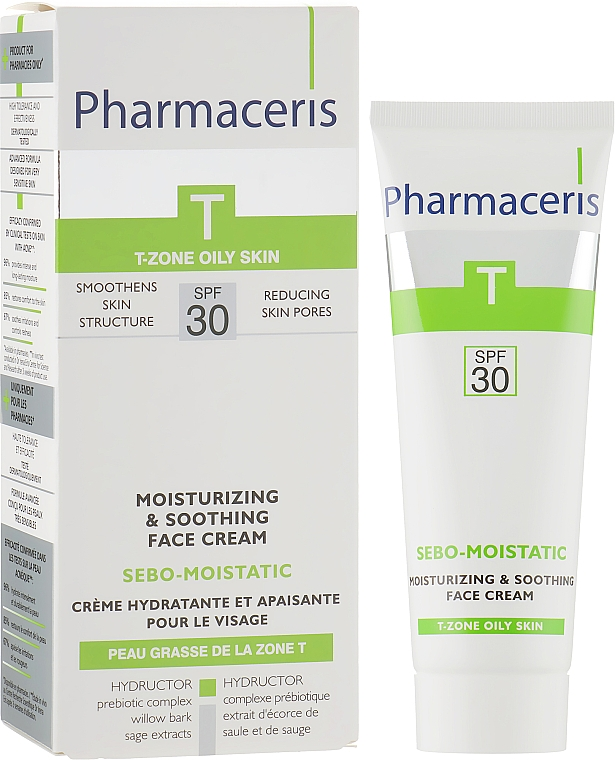 Увлажняющий крем для кожи лица после анти-акне терапии - Pharmaceris T Sebo-Moistatic Cream SPF30