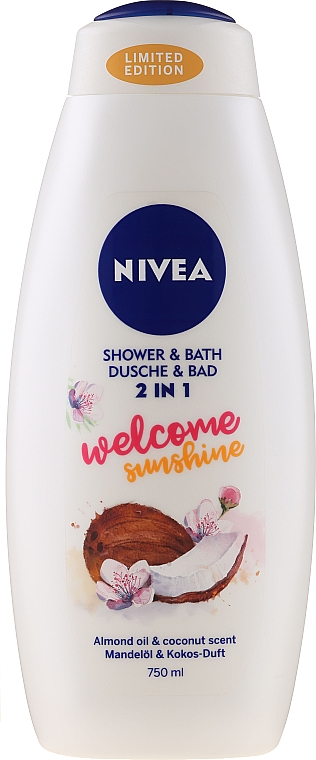 """Гель-пена для ванны """"Кокос и миндаль"""" - Nivea Welcome Sunshine Body Wash Limited Edition"""