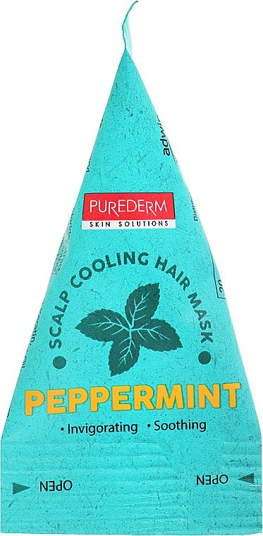 Освежающая маска для поврежденных волос - Purederm Scalp Cooling Hair Mask Pepermint