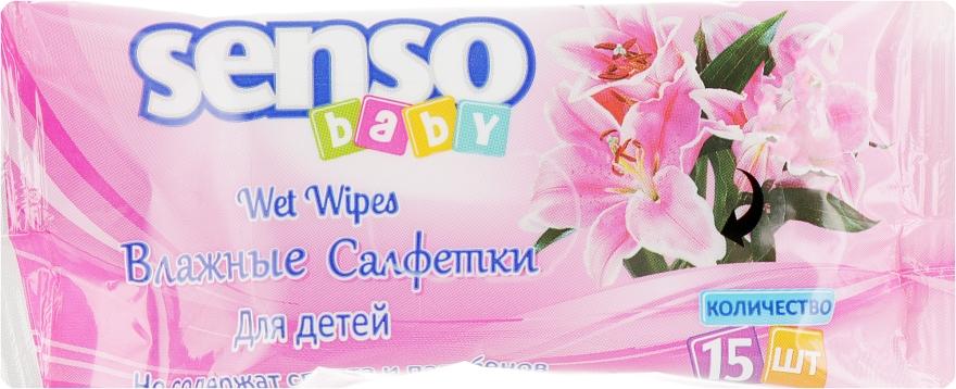 Детские влажные салфетки, 15 шт, розовая упаковка - Senso Baby