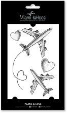 Духи, Парфюмерия, косметика Черные переводные тату - Miami Tattoos Plane & Love