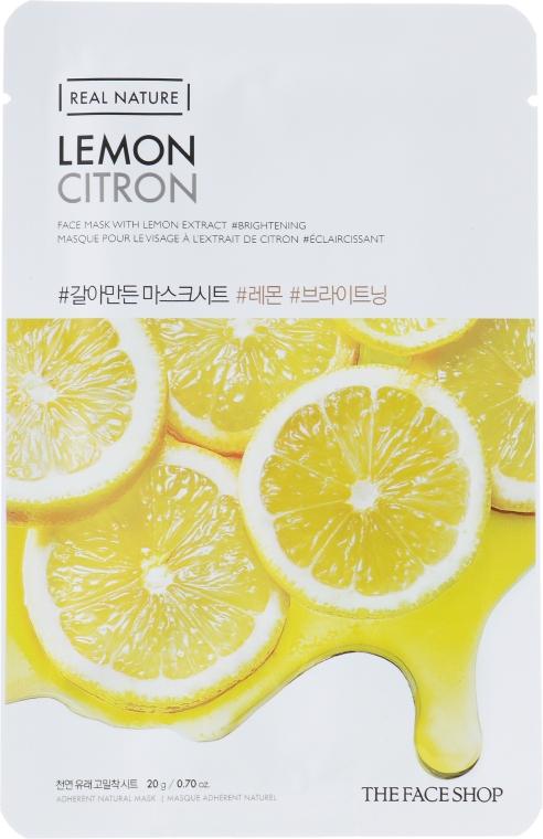 Маска-салфетка для лица с экстрактом лимона - The Face Shop Real Nature Mask Lemon