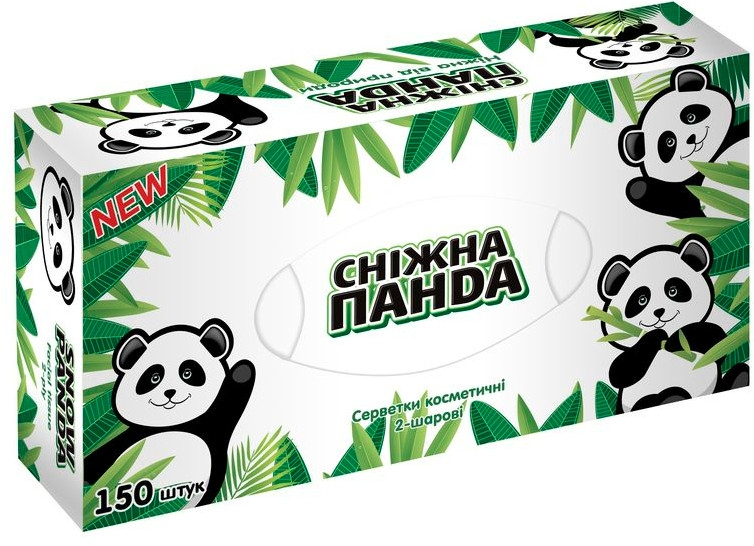 Салфетки косметические, 150шт - Снежная панда
