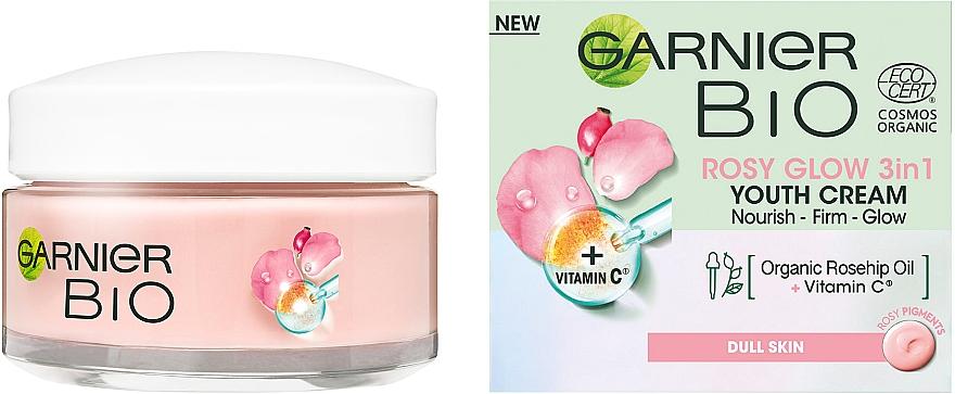 Живительный крем с маслом шиповника для придания сияния тусклой коже лица - Garnier Bio Rosy Glow 3in1 Youth Cream