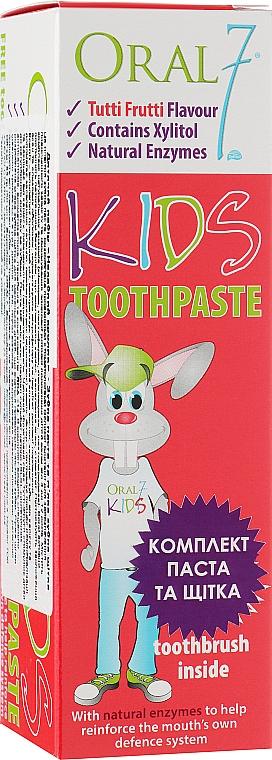 """Детский набор """"Дерзкий кролик"""" - Oral7 Kids Toothpaste ( toothpaste/65g + toothbrush)"""